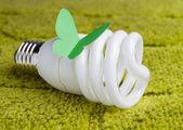 Energy saving bulb on a green background — Stock Photo
