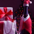 Bottle of champagne in the Christmas clothes — Stock Photo