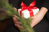 Branch of Christmas tree with gift — Stock Photo