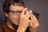 Hipster photographer — Stock Photo