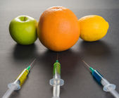 Genetic manipulation with fruits — Stock fotografie