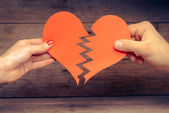 Broken paper heart — Stock Photo