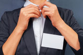 Woman with blank badge, copyspace — Stock Photo