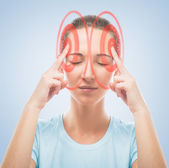 Woman touches her head, the temporal region of red color — Stock Photo