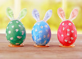 Easter eggs with bunny ears — Stock Photo