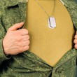 Military man opens his shirt, copyspace — Stock Photo