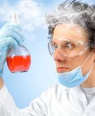 Surprised crazy scientist — 图库照片