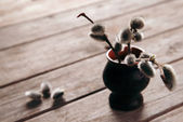 Willow branches in vase — Stockfoto