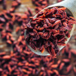 Постер, плакат: Healthy dried goji on a spoon