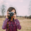 Girl with photo camera — Stock Photo #45147657