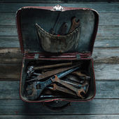 Working tools in suitcase — Stock Photo