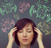 Tired woman and time — Stock Photo