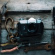 Working tools and photo camera — Stock Photo #46400225