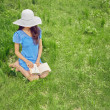 Woman reads a book on nature — Stock Photo #47594643