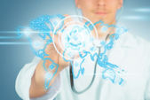 World map  and doctor with stethoscope — Stock Photo
