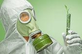 Scientist examines green plant — Stockfoto