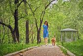 Girl walks with dog — Stock Photo