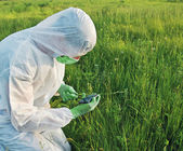 Scientist in biohazard uniform on field — Stock Photo