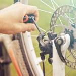 Close-up image of repair wheel bicycle — Stock Photo #49628613