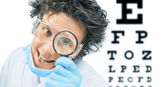 Funny doctor optometrist — Stock Photo