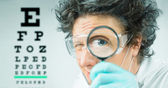 Funny doctor ophthalmologist  — 图库照片