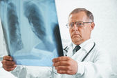 Older doctor examines x-ray image of lungs — Stock Photo
