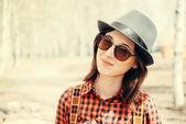 Beautiful hipster girl — Stock Photo