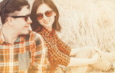 Hipster couple, with sunlight effect — Foto Stock