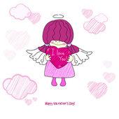 Karte mit einem kleinen mädchen, ein engel zum valentinstag — Stockvektor