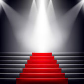 Stairs covered with red carpet. Scene illuminated by a spotlight — Stock Vector