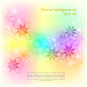 Floral background with colorful flowers and transparent circles — Stock Vector