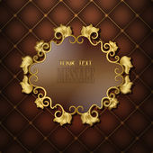 Gold frame with floral pattern on a brown background quilting — ストックベクタ