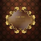 Montatura in oro con motivi floreali su una trapuntatura sfondo marrone — Vettoriale Stock