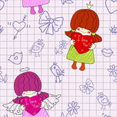 Seamless pattern with a little girl angel and birds — Stock Vector