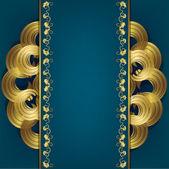 Mavi arka plan ile gold süsleme — Stok Vektör