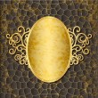 Ornate gold frame on the embossed background — Stockvectorbeeld