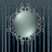 Openwork frame on the background of the curtain with floral patt — Stock Vector