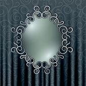 Cadre ajouré sur le fond du rideau avec patt floral — Vecteur