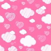 Pink seamless background with clouds and hearts — Stock Vector