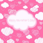 粉红无缝背景与云层和心 — 图库矢量图片
