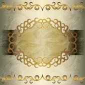 Vintage golden frame on grunge background — Stock Vector
