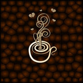 Drawing a coffee cup on the background of coffee beans — Stock Vector