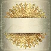 Golden background with openwork circular pattern, wedding card — Stock Vector