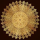 Antique gold disc, round openwork pattern — Stock Vector