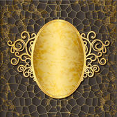 Ornate gold frame on the embossed background — Stock Vector