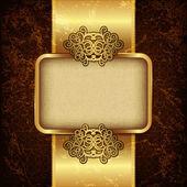 Fondo de lujo con marco dorado y cinta de raso — Vector de stock