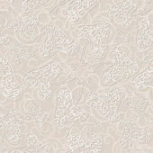 Beige seamless pattern with openwork leaves — Stock Vector