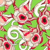 çiçek desenleri ile soyut seamless modeli — Stok Vektör