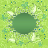 Frame on a green background with flowers and butterflies — Stock Vector
