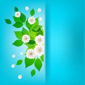 Ramo de flores blancas sobre un fondo azul, manzana flores — Vector de stock